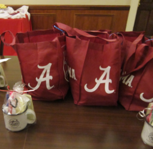 Tote bags filled with essential items provided by FUMC
