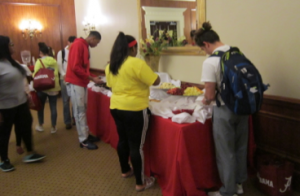 Students check out the buffet table.